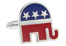 Elelphant Cufflinks Republican Convention Wedding Fancy Gift Box Free Ship USA