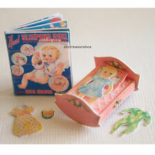 Sleeping Baby Paper Doll Book Miniature Dollhouse Artist Handmade Toy Shop Games