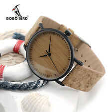 BOBO BIRD E19 Bamboo Watch with Stainless Steel Case Cork Leather Bands