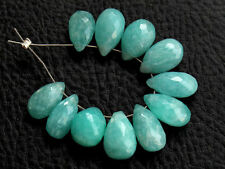 Natural Blue Amazonite Faceted Pear Briolette Semi Precious Gemstone Beads 008
