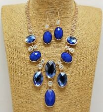 Gold and Blue Crystal Necklace Set