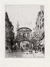"Striking Original 1800s Brunet DEBAINES Etching ""Temple Bar, Dublin"" SIGNED COA"
