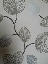 DESIGNER FEATURE WALL WALLPAPER HALF WHITE, BLACK GREY SILVER , LEAF