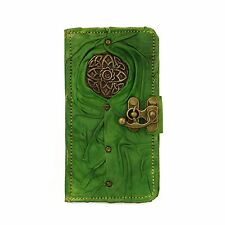 Celtica Verde Samsung Galaxy S5 Telefono Case Cover Realizzata a Mano GENUINE LEATHER WALLET