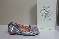 sz 9.5 / 39.5 Charlotte Olympia Silver Glitter Kitty Flat Cat Face Slip on Shoes