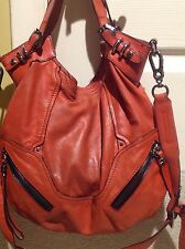 Orange! ORYANY Soft Nappa Leather Hobo Handbag With Zipper Detail