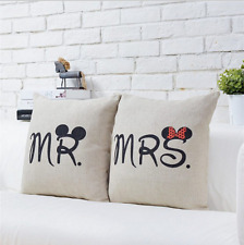 X2 (COPPIA) Mickey Mouse e Minnie Mouse Mr & Mrs Set di cuscino copre. NUOVO di zecca