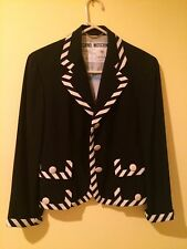 Moschino Couture Vintage Black Jacket trimmed in Black and White Stripe