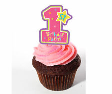 1st Birthday Girl - Pink Edible Cupcake Toppers, Standup Fairy Cake Decorations