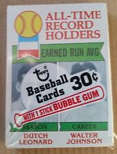 1979 TOPPS BASEBALL UNOPENED CELLO PACK #418 Walter Johnson/Dutch Leonard cover