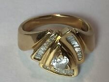 Elegant Estate 0.5 CT Round & Baguette Diamond 14k Yellow Gold Ring Sz 6.5 5.4g
