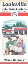 1966 ESSO HUMBLE Road Map LOUISVILLE Jefferson County Kentucky Churchill Downs