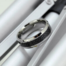 MENS titanium Steel black chequer WEDDING RING Engagement Band size R   ala121
