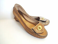 New Coach Italy Made Delila Texterud Metallic Bronze Leather Flats Shoes sz 8 M