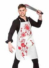 White BLOODY APRON Mens Womens Halloween Trick or Treat Party Scary Costume
