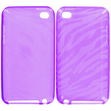Purple TPU Zebra Rubber Skin Cover Case for iPod Touch 4th Gen 4G 4