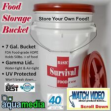 7 Gallon Survival STORAGE BUCKET w/ GAMMA SEAL SCREW-ON LID - AIR & WATER TIGHT-