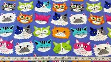 CATS KITTENS FACES PURPLE KITTEN KABOODLE BLANK COTTON QUILT FABRIC