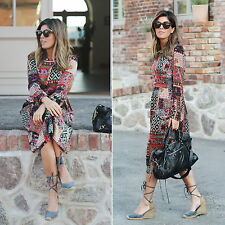 ZARA PATCHWORK LONG SLEEVES MIDI BOHO DRESS SIZE XS BOHO FESTIVAL MAXI