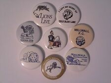 8 collectable Millwall FC 25mm pin button badges 1 inch The Den South Bermondsey