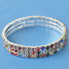 Much Row Multi Colour Cubic Zirconia 9K White Gold Filled Womens Bracelet,F5048
