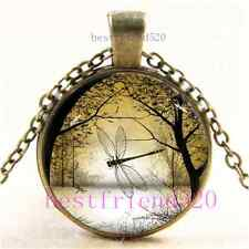 Vintage Summer Dragonfly Photo Cabochon Glass Bronze Chain Pendant Necklace#B53