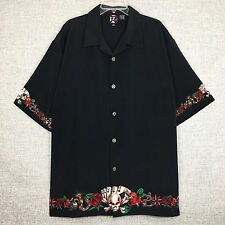 Dragonfly Black Skull Dagger Roses Poker Cards Tattoo Biker SS Camp Shirt sz 3XL