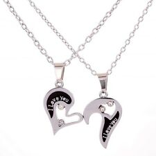 "Lovers Couple ""I Love You"" Half Heart Pendant Silvery Necklace Valentine jewelry"