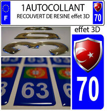 1 sticker plaque immatriculation auto DOMING 3D RESINE  BLASON TURQUIE DEPA 70