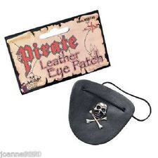 Adult Pirate Black Leather Eyepatch Skull Cossbone Fancy Dress Costume Accessory