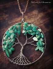 Large copper wire wrapped tree of life natural green stone sweater necklace