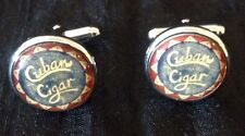 "Men's Cufflinks ""Cuban Cigar"" Geeky Blue And Brown"