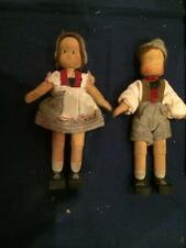 "Pair of Miniature 5"" Vintage Wood Swiss Boy & Girl Dolls Ethnic Outfits"