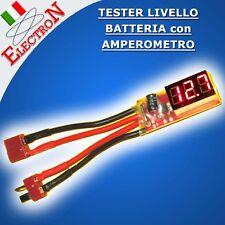 TESTER BATTERIA TENSIONE da 7,4V a 22V + AMPEROMETRO 20Ampere x Batt. 12V o LiPo
