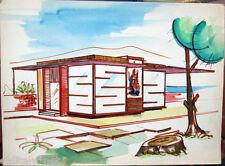 Acquerello '900 su carta Watercolor Architettura futurista cubista razionale-12