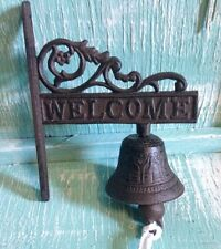 Welcome Door Bell Wall Mount Cast Iron New Rustic Vintage Old Fashion