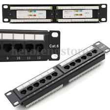 "10"" 12 Ports Cat6 RJ45 Patch Panel Ethernet Network Rack Wall Mounted Bracket AU"