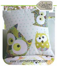 Family of Owls - Applique Sewing Craft PATTERN - Cushion Shabby Chic