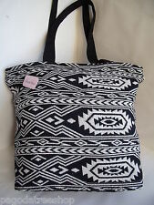 NUOVO Black & White etnico Azteco Stile Messicano TAPESTRY Tote Shopper Handbag