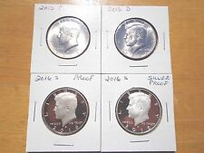 2016 P D S S Silver & Clad Proof Kennedy Half Dollar 4 Coin Lot Set