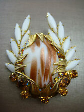 RARE JULIANA VENUS FLAMES FAUX COPPER FLUSS AVENTURINE WHITE NAVETTE PIN BROOCH
