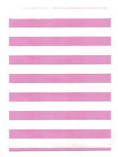 25 Pcs Pink Horizontal Stripes 5x7 Print Paper Gift Bags Favor Candy Shop