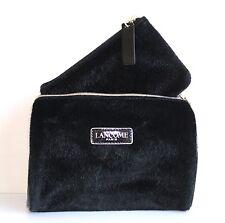 LANCOME Black Faux Fur Travel Makeup Case Cosmetic Bag Set