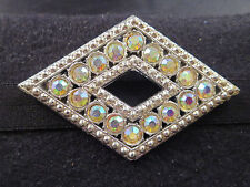 Vtg? WAC? Signed AB Rhinestone Diamond-Shaped Brooch Pin Open Center Silver Tone