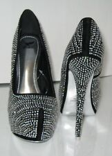 "blacks rhinestone 6""high heel 2""platform round toe wedding/prom shoes Size 8.5"