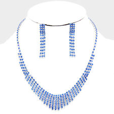 Blue bridal jewellery set diamante rhinestone sparkly prom party necklace 204
