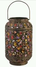 Vintage Large Jewel Brass Metal Moroccan Lantern Style Floor Table Lamp NEW