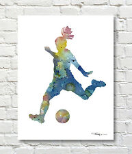 Soccer Girl Watercolor Abstract ART Print by Artist DJR