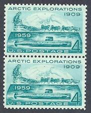 US 1959 Sc# 1128 set Arctic North Pole Dog sled Submarine Nautilus pair MNH