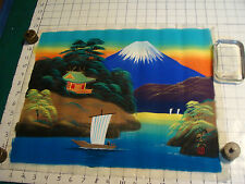 vintage Japanese Painting fabric: FULL COLOR, mt. FUJI, water, boat, neat.